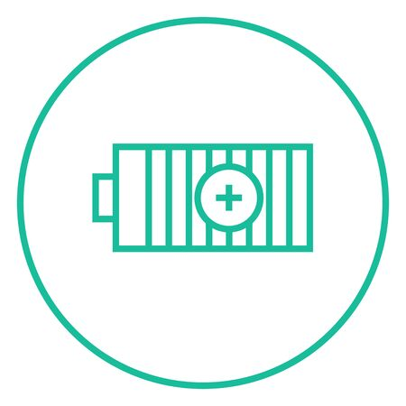 Fully charged battery thick line icon with pointed corners and edges for web, mobile and infographics. Vector isolated icon.