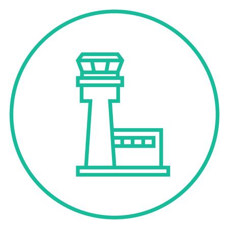 Vlucht verkeerstoren dikke lijn icoon met puntige hoeken en randen voor het web, mobiel en infographics. Vector geïsoleerde pictogram.