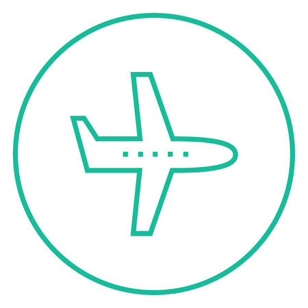 illuminator: Flying airplane thick line icon with pointed corners and edges for web, mobile and infographics. Vector isolated icon. Illustration