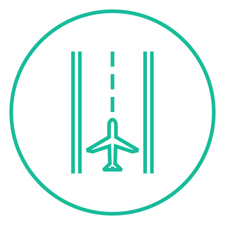 aircraft take off: Airport runway thick line icon with pointed corners and edges for web, mobile and infographics. Vector isolated icon. Illustration