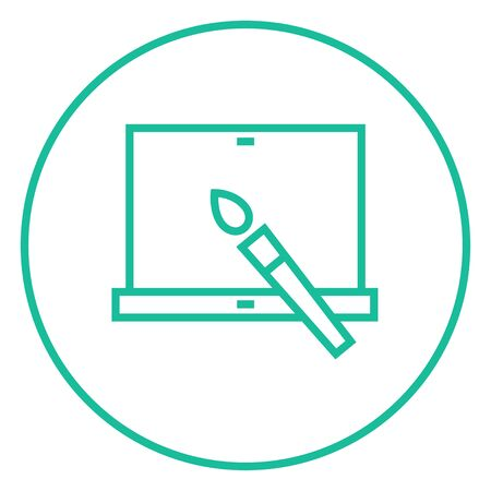 laptop screen: Laptop and brush thick line icon with pointed corners and edges for web, mobile and infographics. Vector isolated icon. Illustration