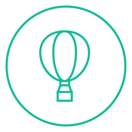 balon: Hot air balloon thick line icon with pointed corners and edges for web, mobile and infographics. Vector isolated icon.