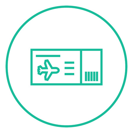 overseas: Flight ticket thick line icon with pointed corners and edges for web, mobile and infographics. Vector isolated icon.