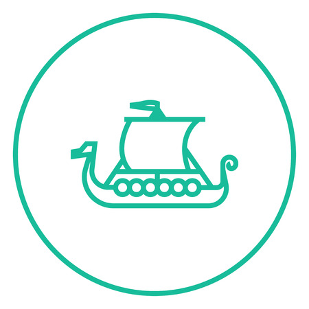 rowboat: Old ship thick line icon with pointed corners and edges for web, mobile and infographics. Vector isolated icon. Illustration
