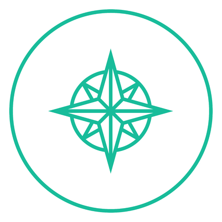 compass rose: Compass wind rose thick line icon with pointed corners and edges for web, mobile and infographics. Vector isolated icon.