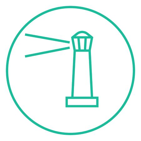 illuminative: Lighthouse thick line icon with pointed corners and edges for web, mobile and infographics. Vector isolated icon.