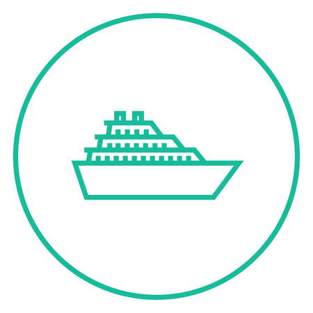 Cruise ship thick line icon with pointed corners and edges for web, mobile and infographics. Vector isolated icon.