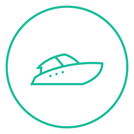 Speedboat thick line icon with pointed corners and edges for web, mobile and infographics. Vector isolated icon. 向量圖像