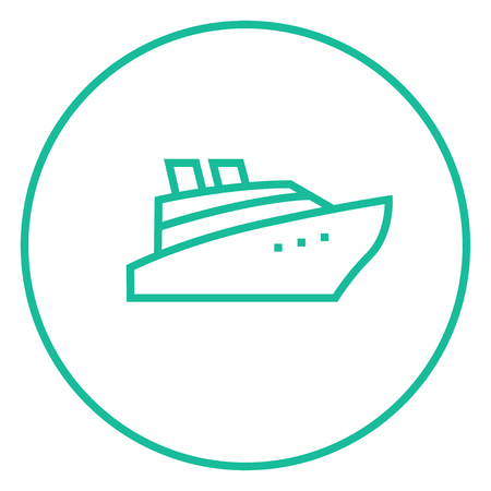 hull: Cruise ship thick line icon with pointed corners and edges for web, mobile and infographics. Vector isolated icon.