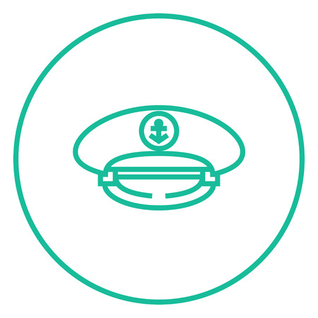 captain cap: Captain peaked cap thick line icon with pointed corners and edges for web, mobile and infographics. Vector isolated icon.