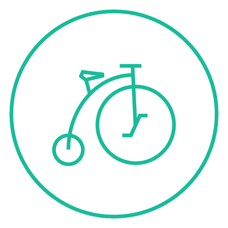 big wheel: Old bicycle with big wheel thick line icon with pointed corners and edges for web, mobile and infographics. Vector isolated icon.