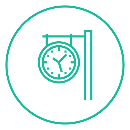 hand rails: Train station clock thick line icon with pointed corners and edges for web, mobile and infographics. Vector isolated icon. Illustration