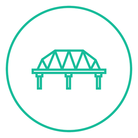 steel bridge: Rail way bridge thick line icon with pointed corners and edges for web, mobile and infographics. Vector isolated icon.