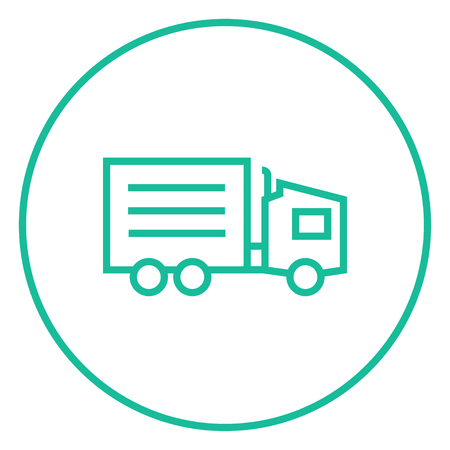 Delivery truck thick line icon with pointed corners and edges for web, mobile and infographics. Vector isolated icon.