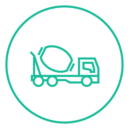 lifter: Concrete mixer truck thick line icon with pointed corners and edges for web, mobile and infographics. Vector isolated icon. Illustration
