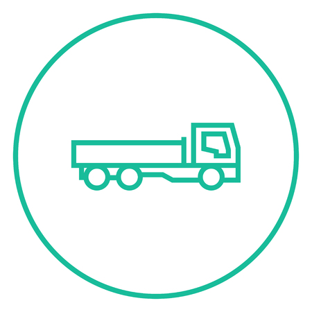 haul: Dump truck thick line icon with pointed corners and edges for web, mobile and infographics. Vector isolated icon. Illustration
