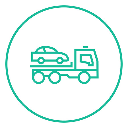 Car towing truck thick line icon with pointed corners and edges for web, mobile and infographics. Vector isolated icon. Stock Vector - 55181416