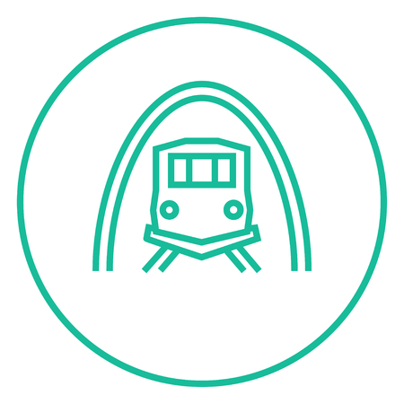 thoroughfare: Railway tunnel thick line icon with pointed corners and edges for web, mobile and infographics. Vector isolated icon.