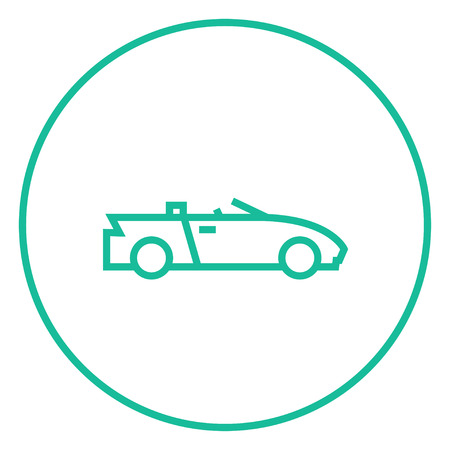 convertible car: Convertible car thick line icon with pointed corners and edges for web, mobile and infographics. Vector isolated icon.