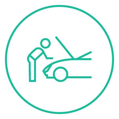 fixing: Man fixing car thick line icon with pointed corners and edges for web, mobile and infographics. Vector isolated icon.