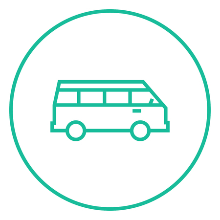 omnibus: Minibus thick line icon with pointed corners and edges for web, mobile and infographics. Vector isolated icon. Illustration