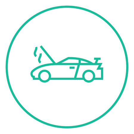 Broken car with open hood thick line icon with pointed corners and edges for web, mobile and infographics. Vector isolated icon. Stock Vector - 55181503