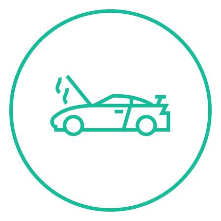 Voiture cassée avec capot ouvert icône de la ligne épaisse avec des coins pointus et des bords pour le web, le mobile et infographies. Vector icône isolé. Banque d'images - 55181503