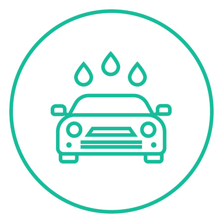 car wash: Car wash thick line icon with pointed corners and edges for web, mobile and infographics. Vector isolated icon.
