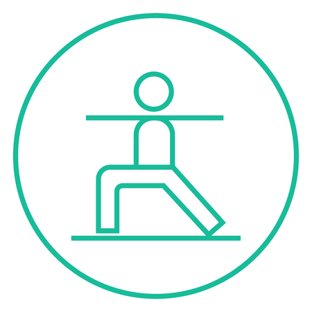 virabhadrasana: Man in the virabhadrasana II pose thick line icon with pointed corners and edges for web, mobile and infographics. Vector isolated icon.