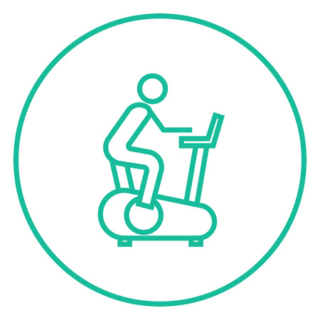 Man training on exercise bike thick line icon with pointed corners and edges for web, mobile and infographics. Vector isolated icon. Illustration