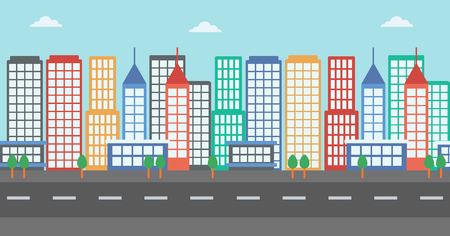 motorway: Background of modern city and a road vector flat design illustration. Horizontal layout.