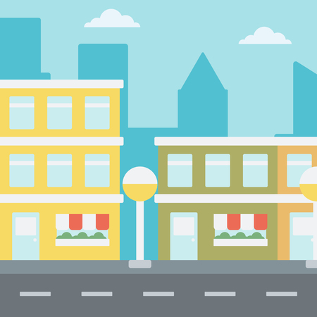 city background: Background of modern city with facade of cafe or shop.