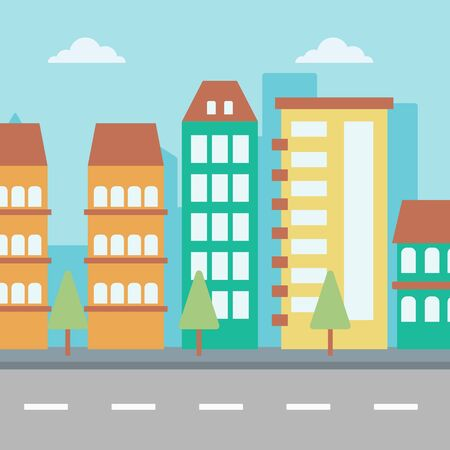motorway: Background of modern city and a road vector flat design illustration. Square layout.