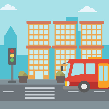 Background of red bus on the crosswalk with traffic light vector flat design illustration. Square layout. Illustration