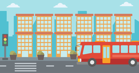 Background of red bus on the crosswalk with traffic light vector flat design illustration. Horizontal layout.