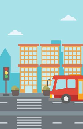 Background of red bus on the crosswalk with traffic light vector flat design illustration. Vertical layout. Illustration