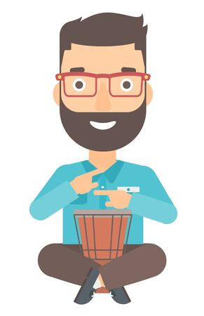 A hipster man with the beard playing tomtom vector flat design illustration isolated on white background.