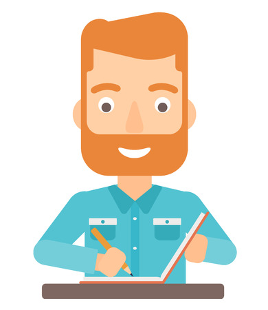 article: A hipster man with the beard writing an article in his writing-pad vector flat design illustration isolated on white background.