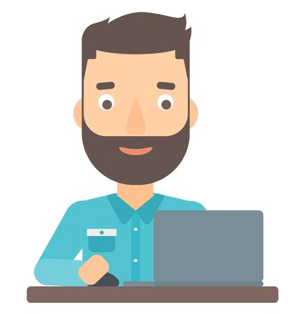 caucasians: A happy young hipster man with the beard sitting at the table and working at the laptop vector flat design illustration isolated on white background.