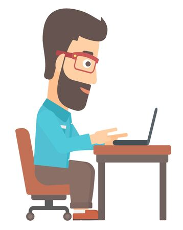A happy young hipster man with the beard sitting at the table and working at the laptop vector flat design illustration isolated on white background.
