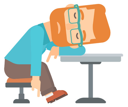 A hipster man with the beard sleeping at the table vector flat design illustration isolated on white background.