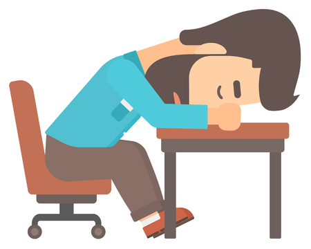 A tired young hipster man with the beard sleeping on table vector flat design illustration isolated on white background. Illustration