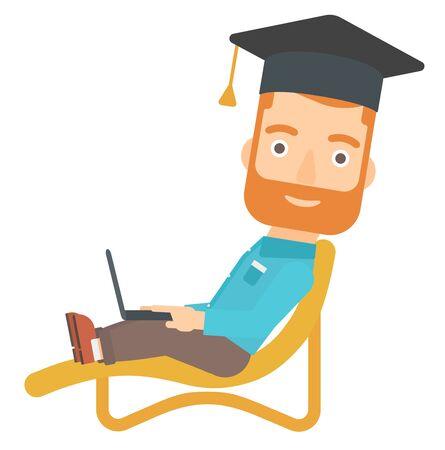 lying in: A hipster man in graduation cap lying in chaise long with laptop vector flat design illustration isolated on white background.