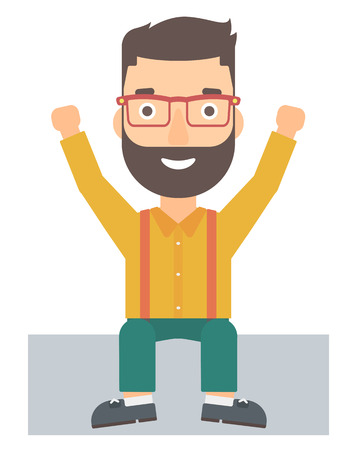 A hipster man with the beard sitting with raised hands up vector flat design illustration isolated on white background.