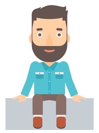 fullbody: A hipster man with the beard sitting vector flat design illustration isolated on white background. Illustration