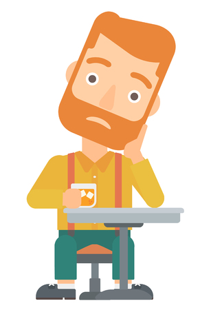 sorrowful: A sad hipster man with the beard sitting at bar vector flat design illustration isolated on white background.