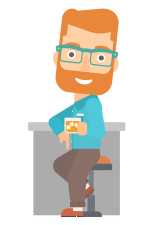 bar counter: A hipster man with the beard sitting near the bar counter vector flat design illustration isolated on white background. Illustration