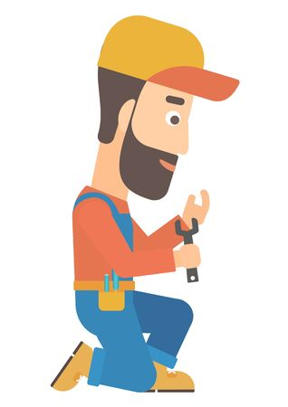 repairman: Young hipster repairman sitting with a spanner in hand vector flat design illustration isolated on white background.