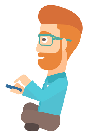 holding smart phone: A hipster man with the beard using mobile phone vector flat design illustration isolated on white background. Illustration