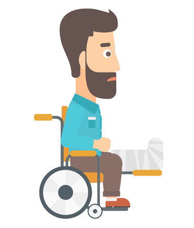 sprain: A hipster man with broken leg sitting in wheelchair vector flat design illustration isolated on white background. Illustration